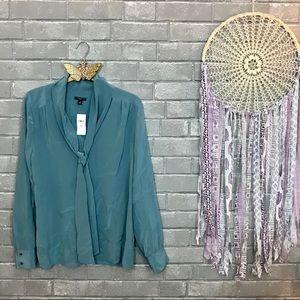 ann taylor // muted seafoam blue silk blouse m